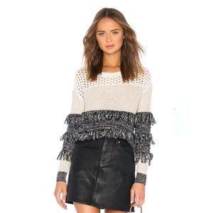 Majorelle Dez Pointelle Open Knit Fringe Sweater